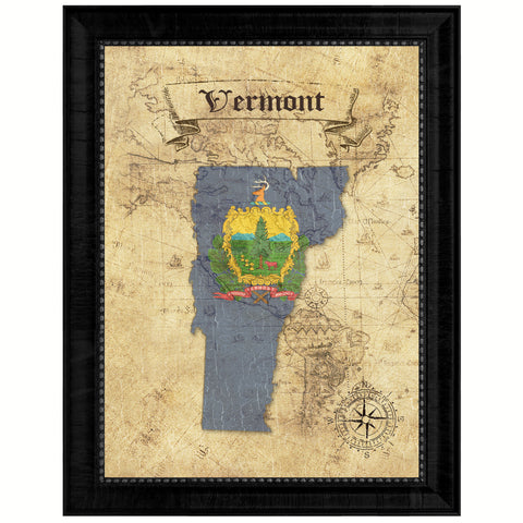 Vermont State Vintage Map Gifts Home Decor Wall Art Office Decoration
