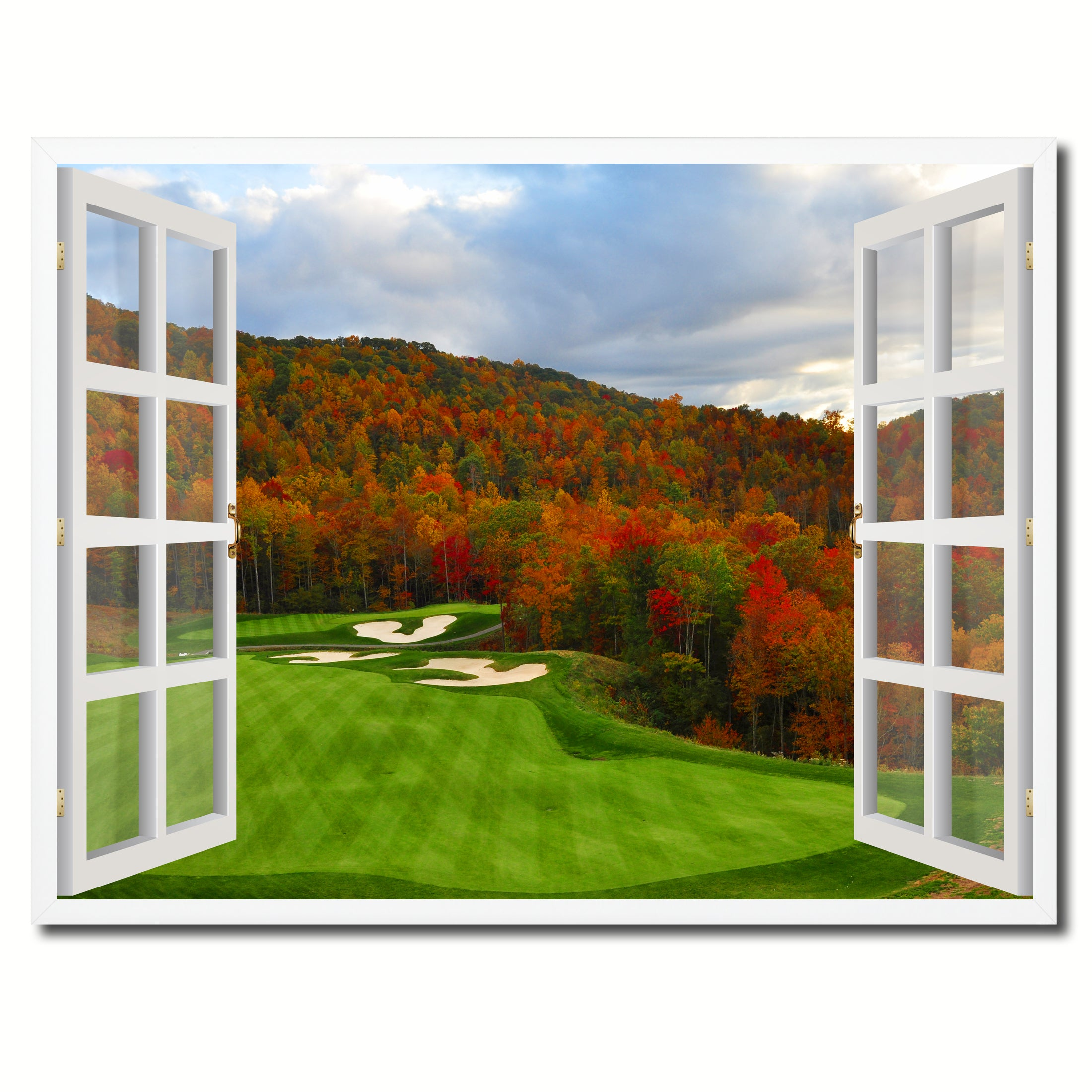 North Carolina Golf Course Autumn View Picture French Window Framed Canvas Print Home Decor Wall Art Collection