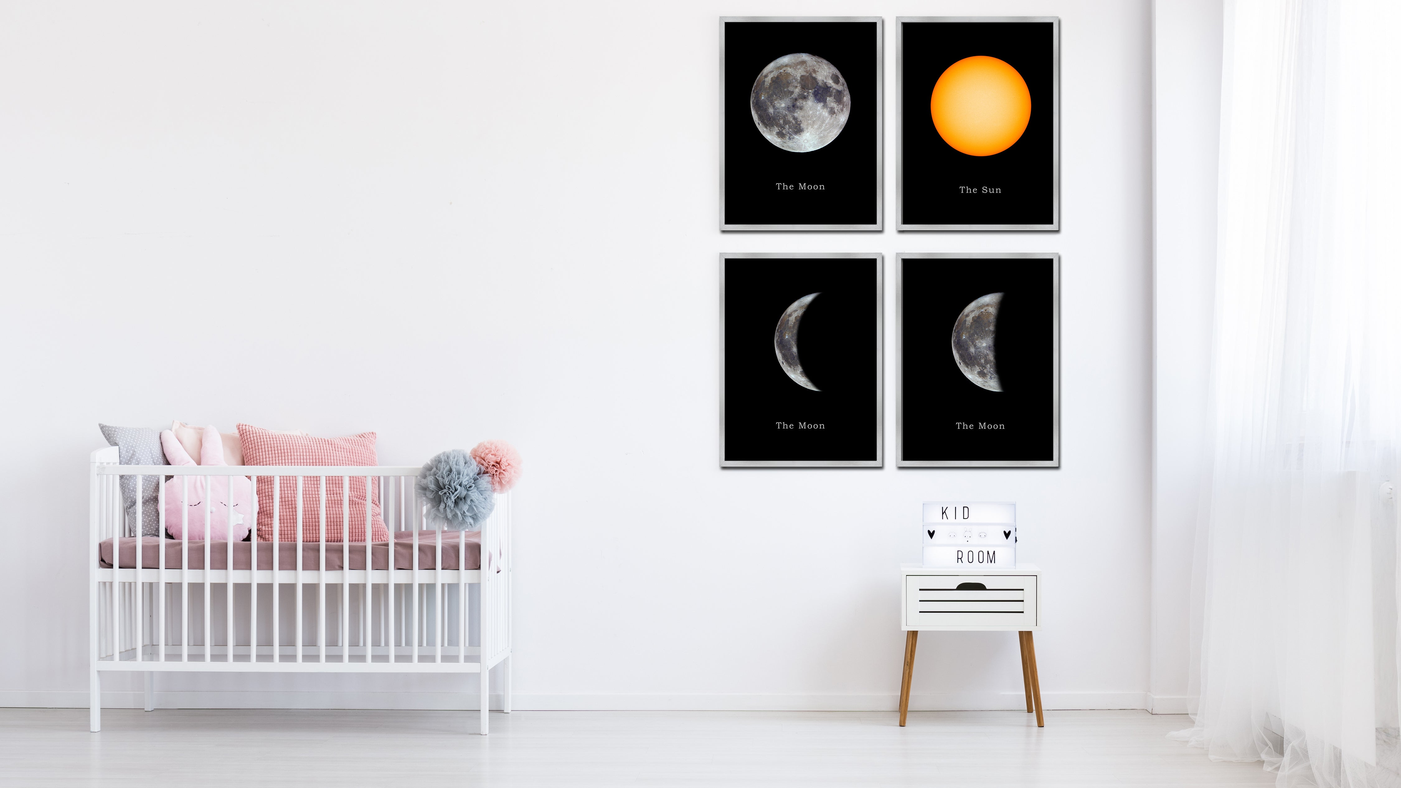 Earth Print on Canvas Planets of Solar System Silver Picture Framed Art Home Decor Wall Office Decoration