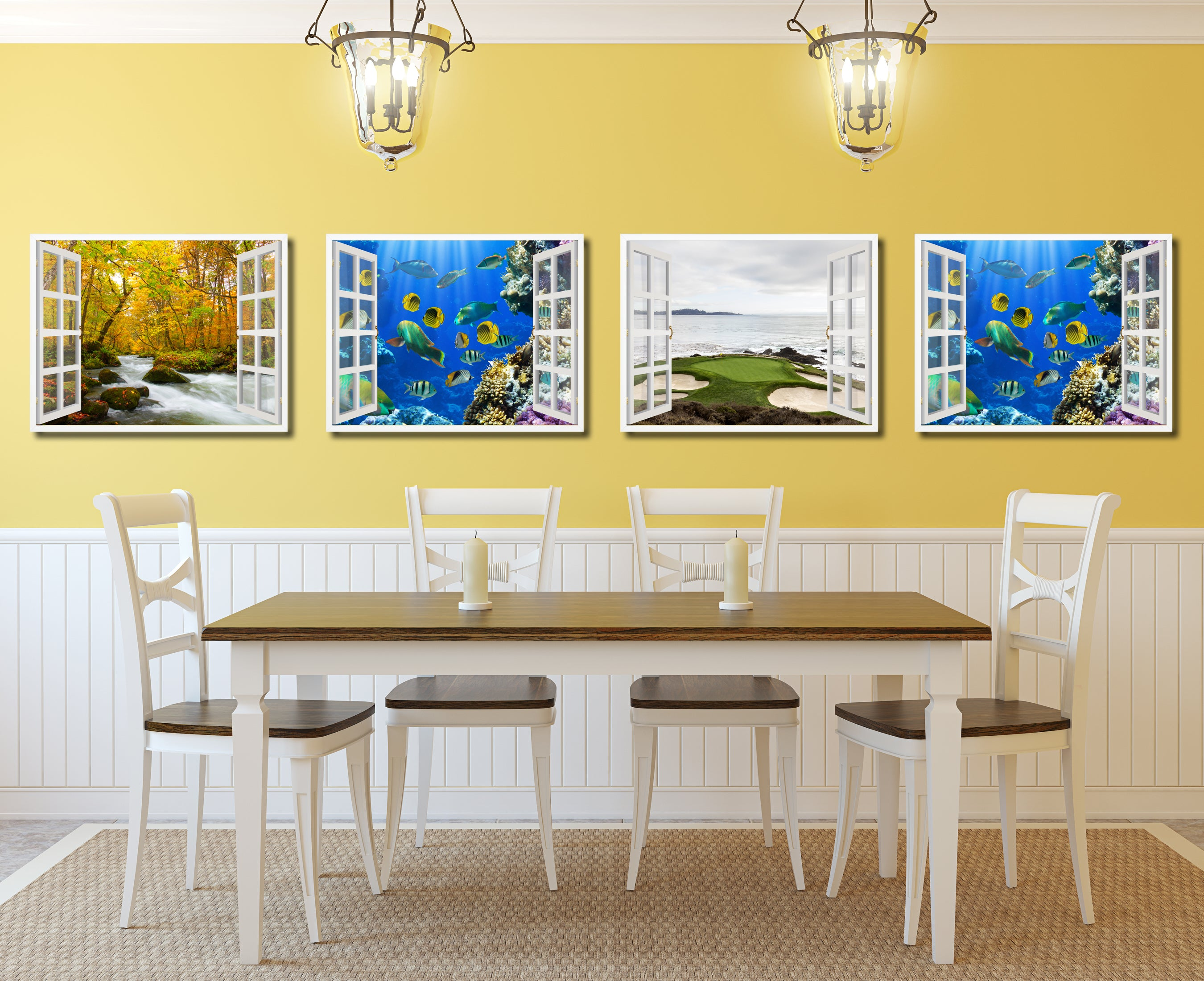 Tropical Island Fish Picture Window Wall Art Home Decor Gift Ideas ...