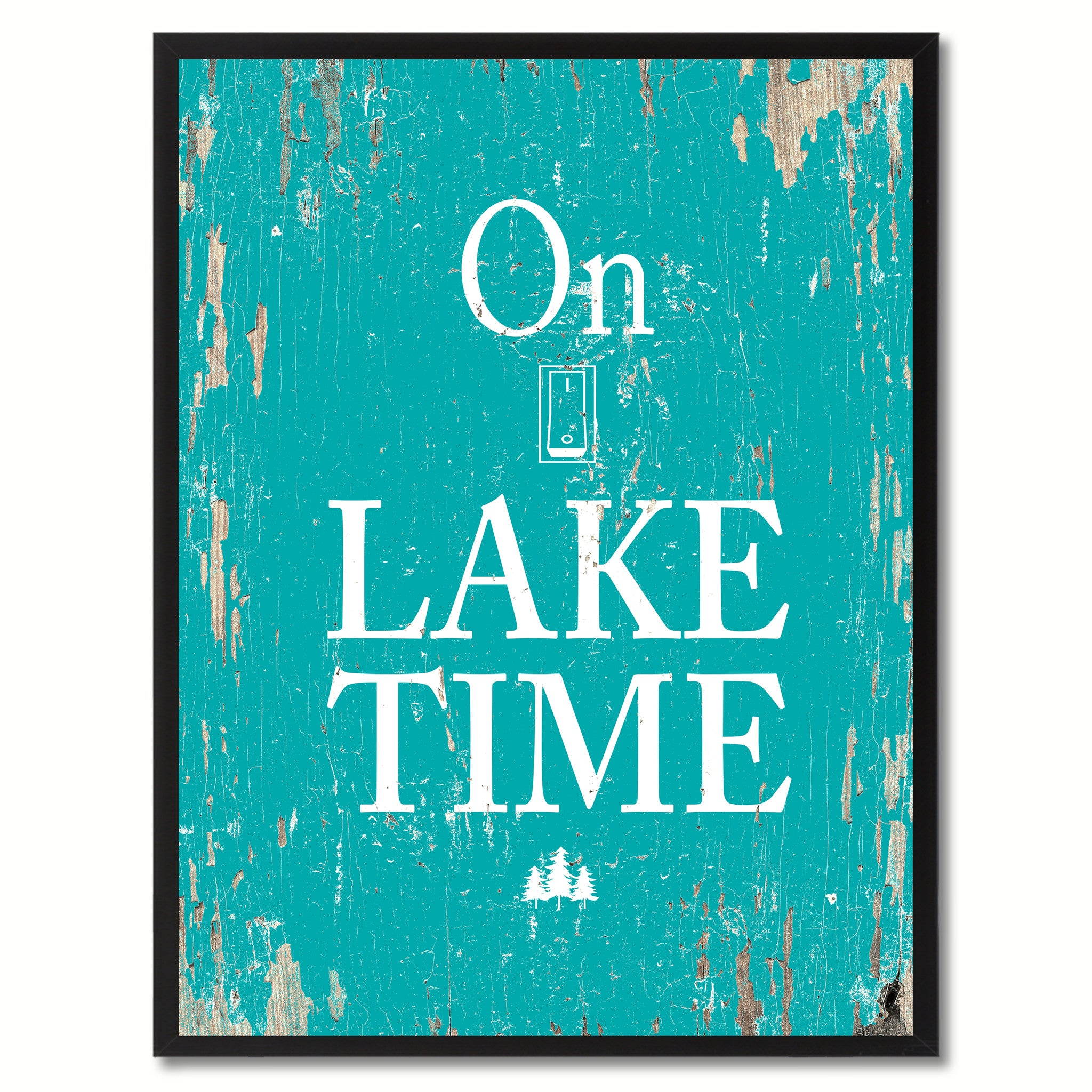 On Lake Time Saying Canvas Print, Black Picture Frame Home Decor Wall Art Gifts