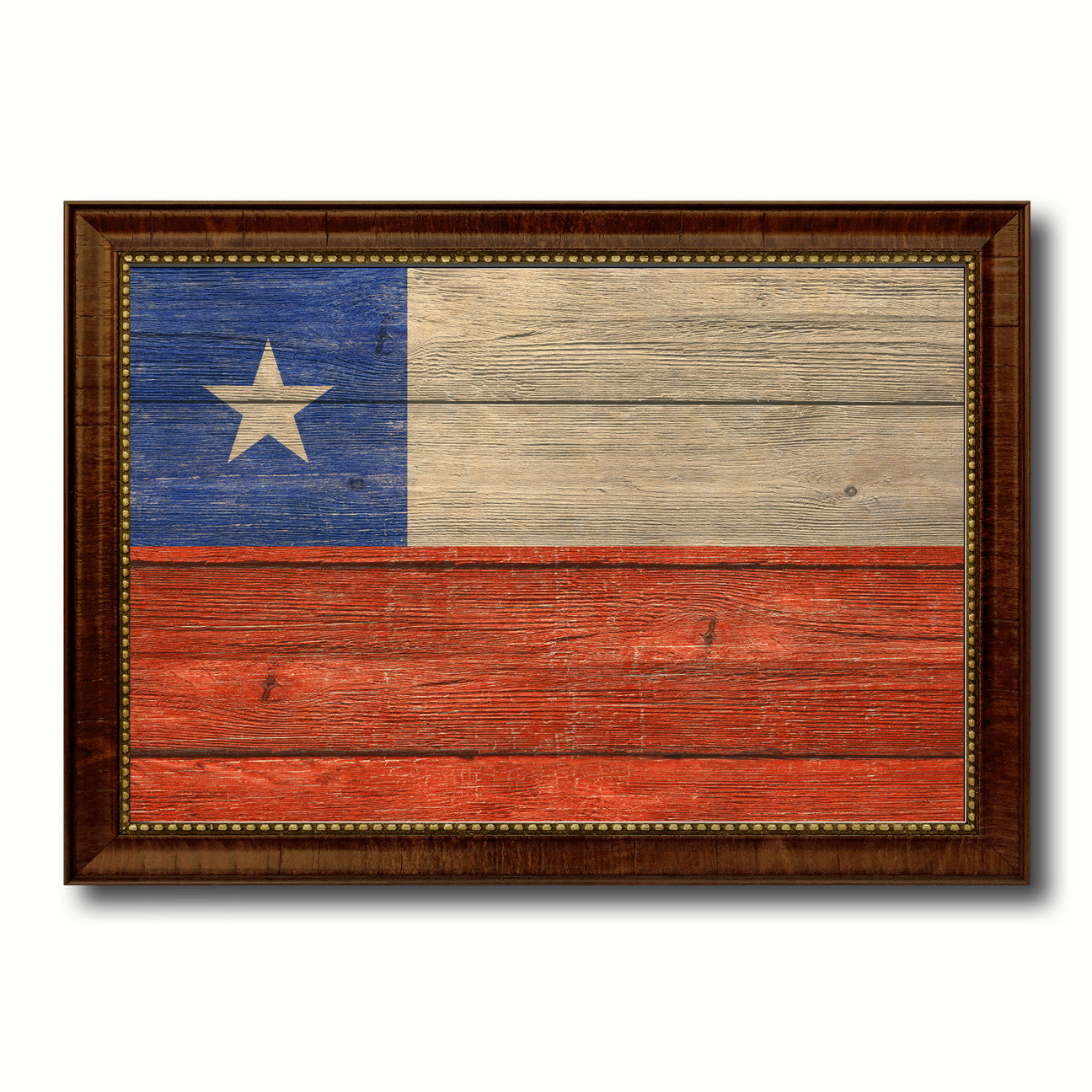 Chile Country Flag Texture Canvas Print with Brown Custom Picture Frame Home Decor Gift Ideas Wall Art Decoration