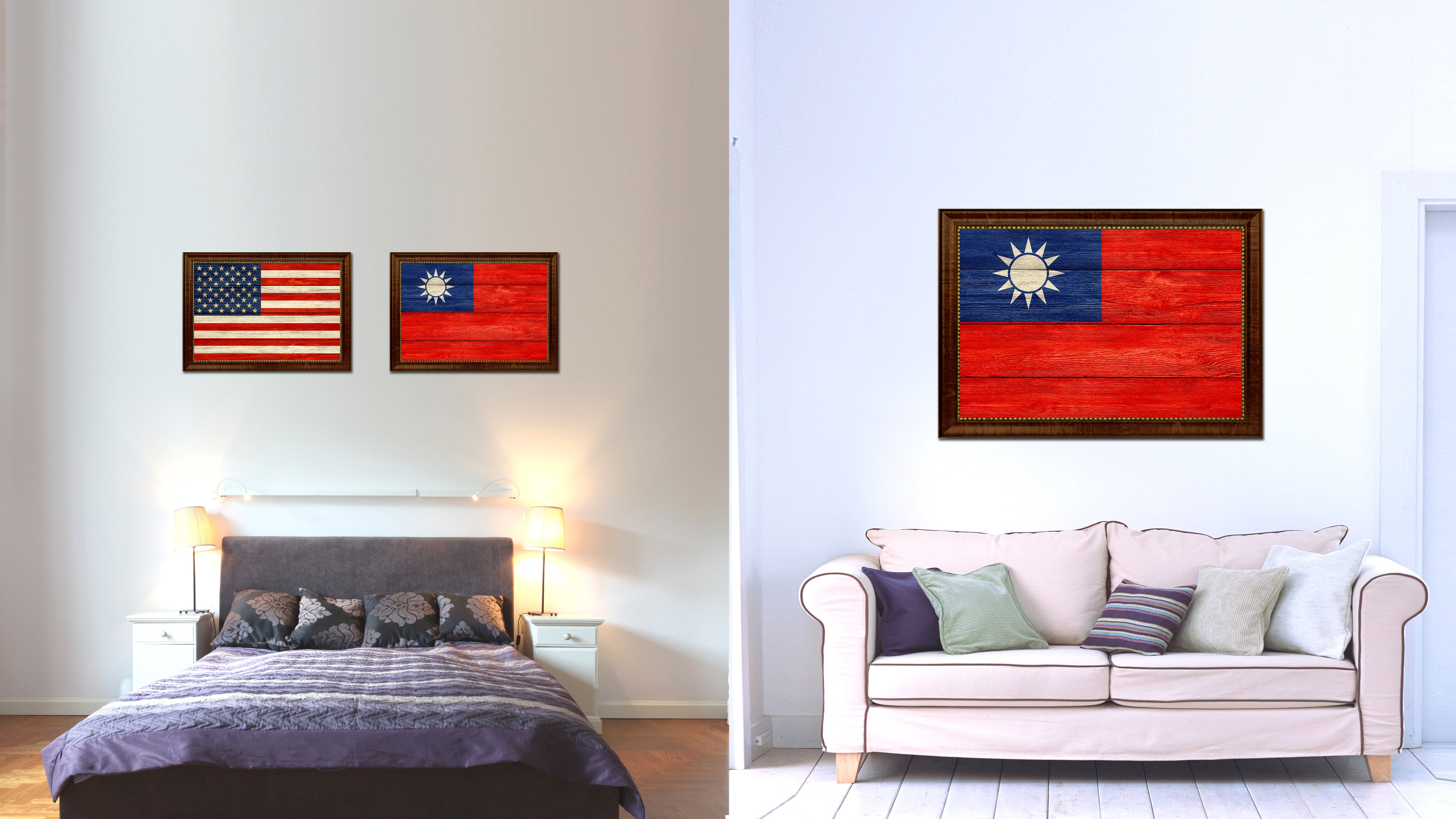 Taiwan Country Flag Texture Canvas Print with Brown Custom Picture Frame Home Decor Gift Ideas Wall Art Decoration