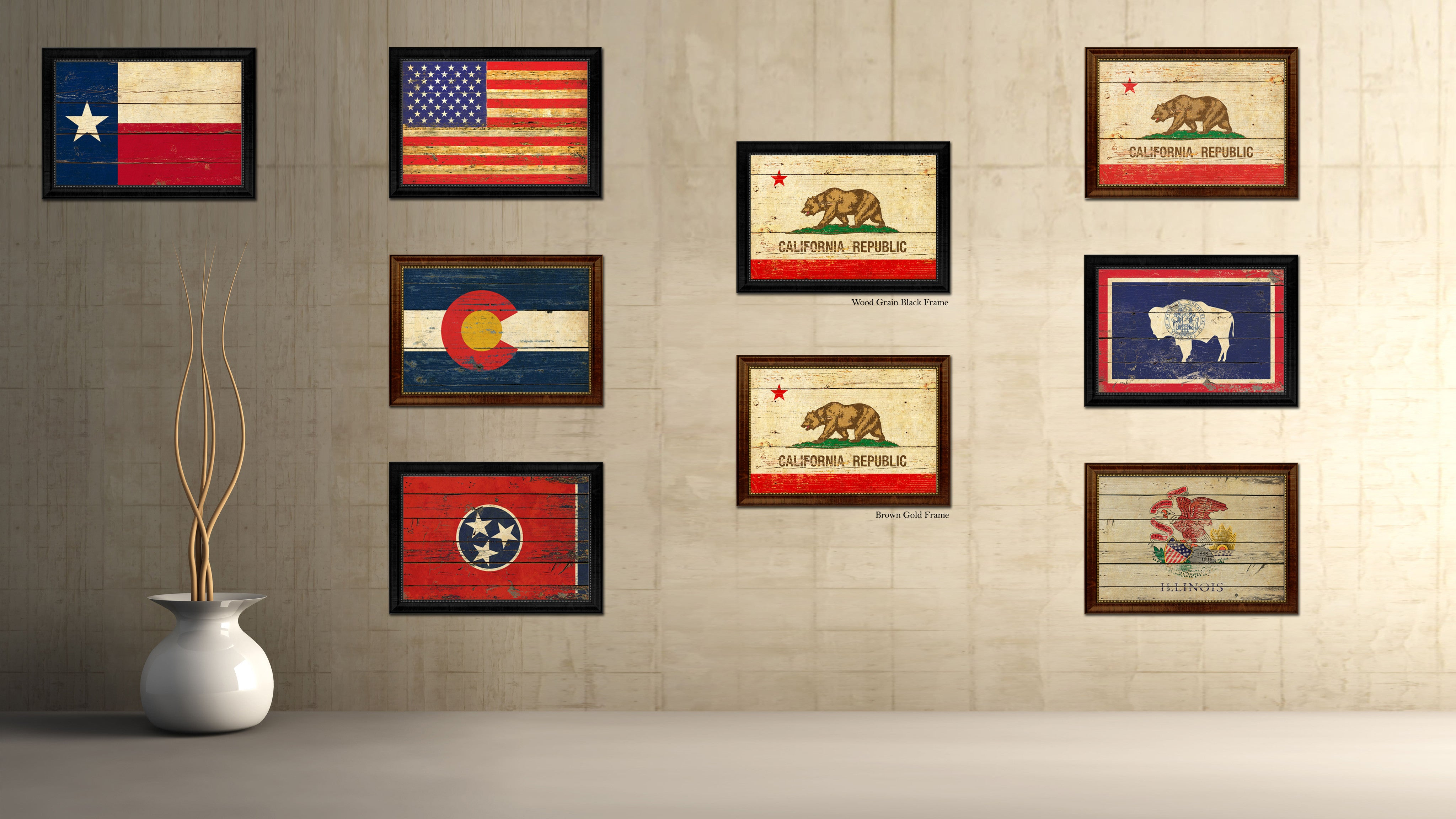 Man Cave Wall Art california state vintage flag canvas with black print picture
