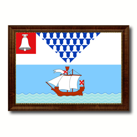 Belfast City Maine State Flag Canvas Print Brown Picture Frame