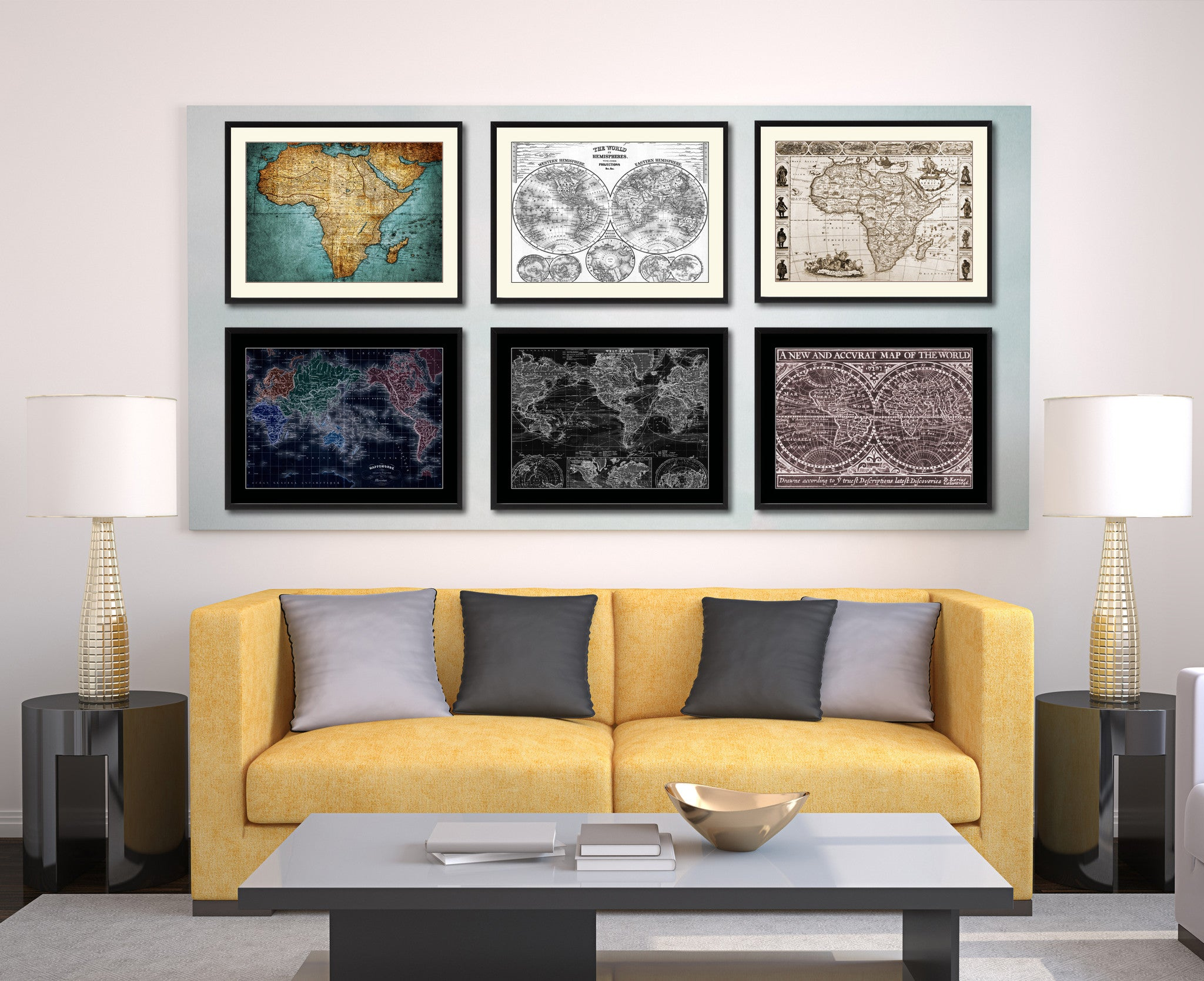 Africa Vintage Sepia Map Canvas Print Picture