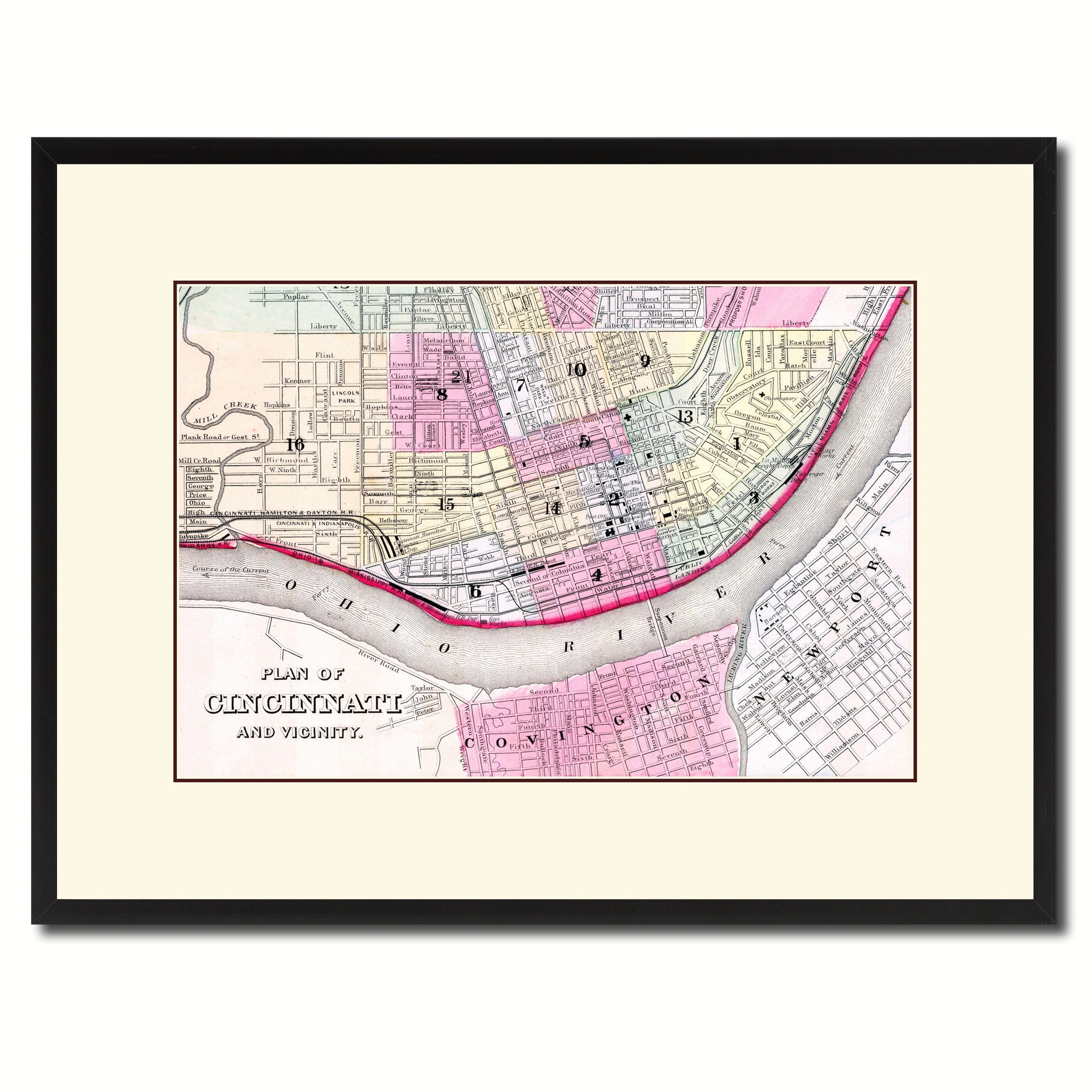 Cincinnati Vintage Antique Map Wall Art Home Decor Gift Ideas Canvas Print Custom Picture Frame