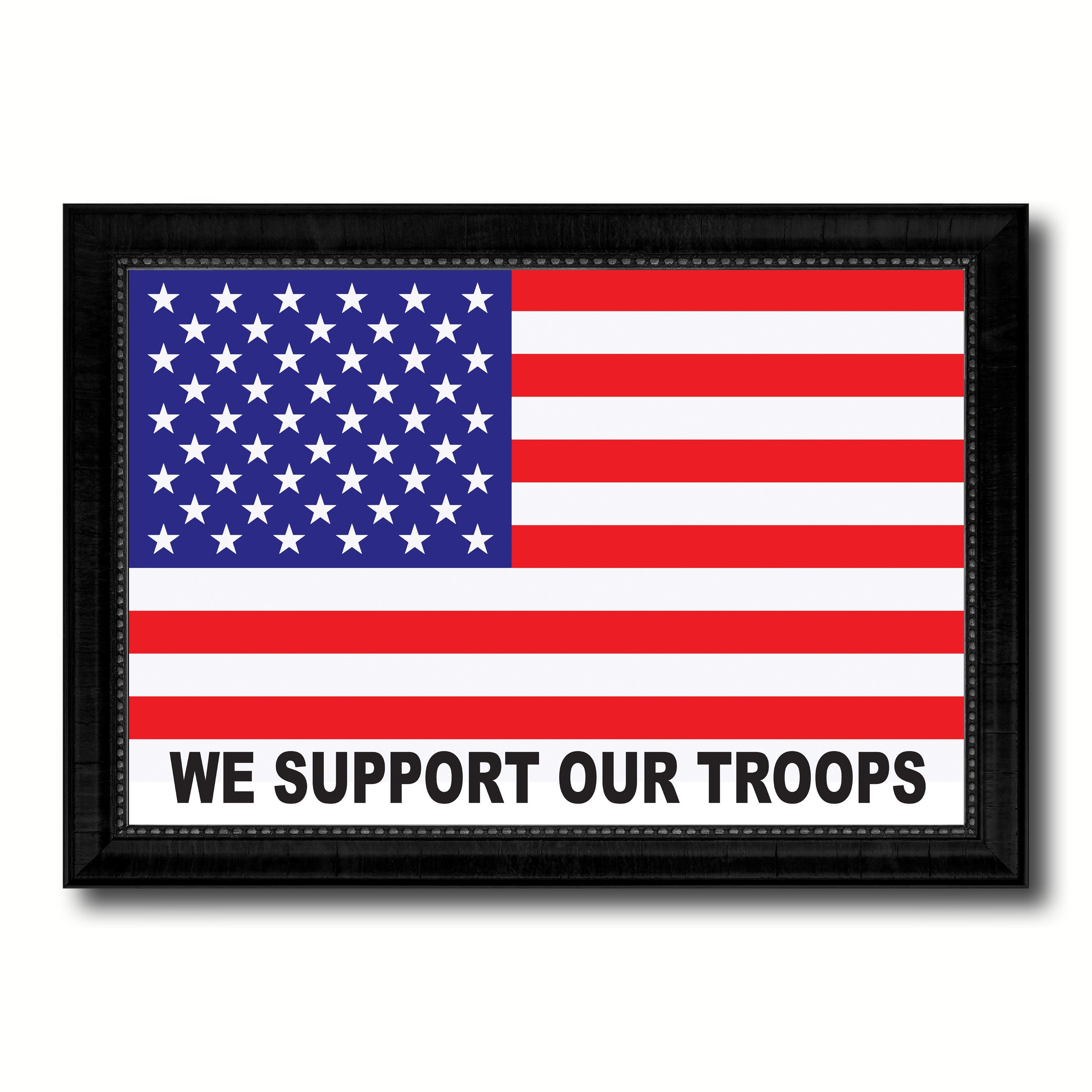 We Support Our Troops Military Flag Canvas Print Black Picture Frame Gifts Home Decor Wall Art