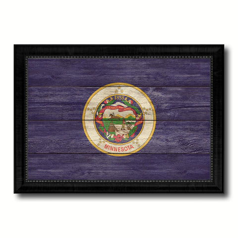 Minnesota State Flag Texture Canvas Print with Black Picture Frame Home Decor Man Cave Wall Art Collectible Decoration Artwork Gifts