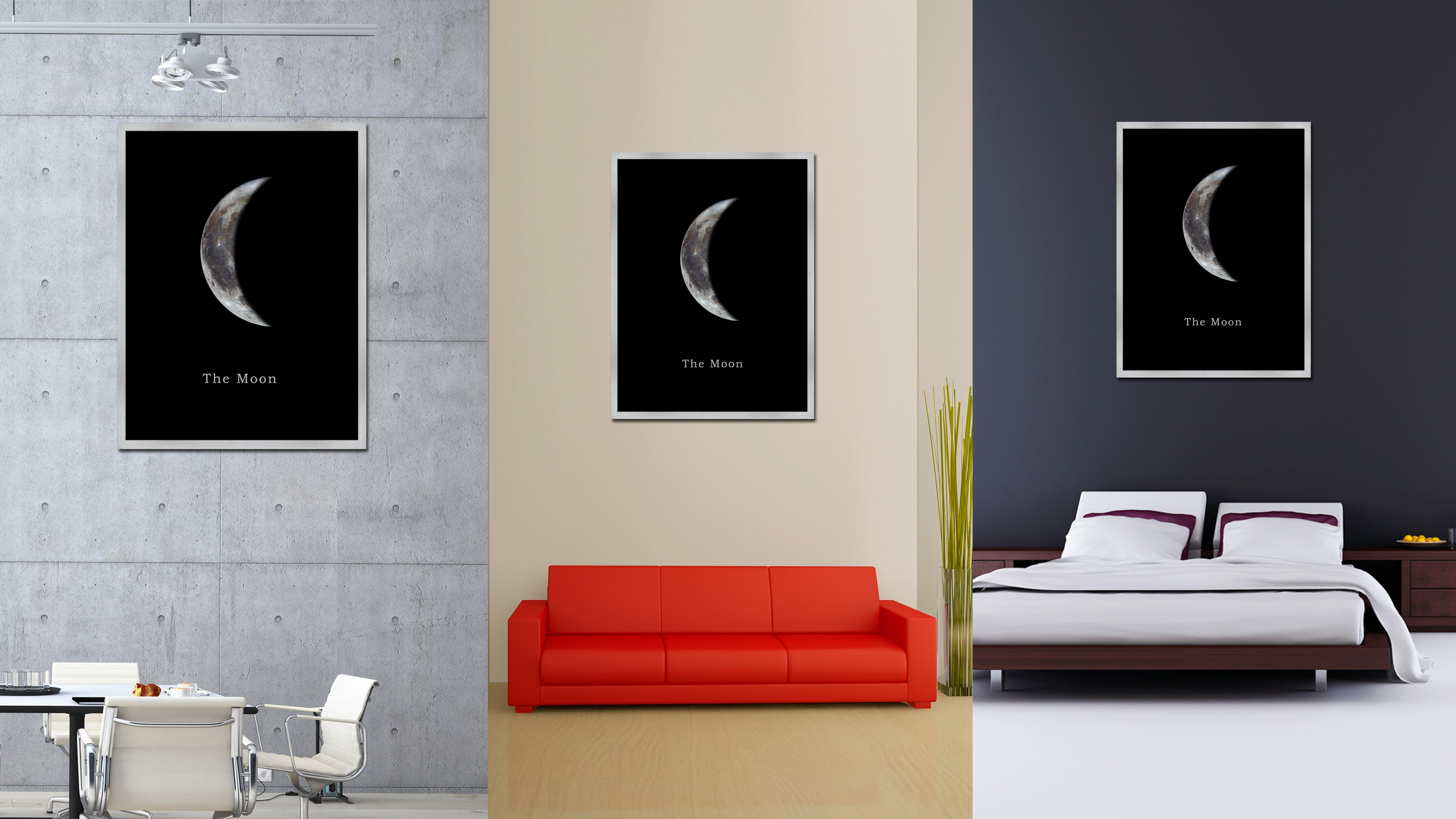 Crescent Moon Crescent Moon Print on Canvas Silver Custom Framed Art Home Decor Wall Offec Decoration