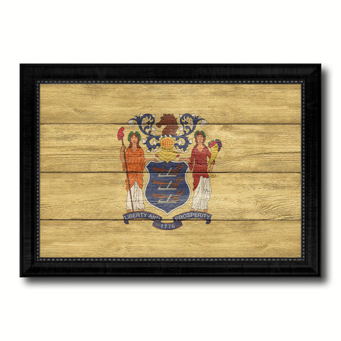 New Jersey State Flag Texture Canvas Print with Black Picture Frame Home Decor Man Cave Wall Art Collectible Decoration Artwork Gifts