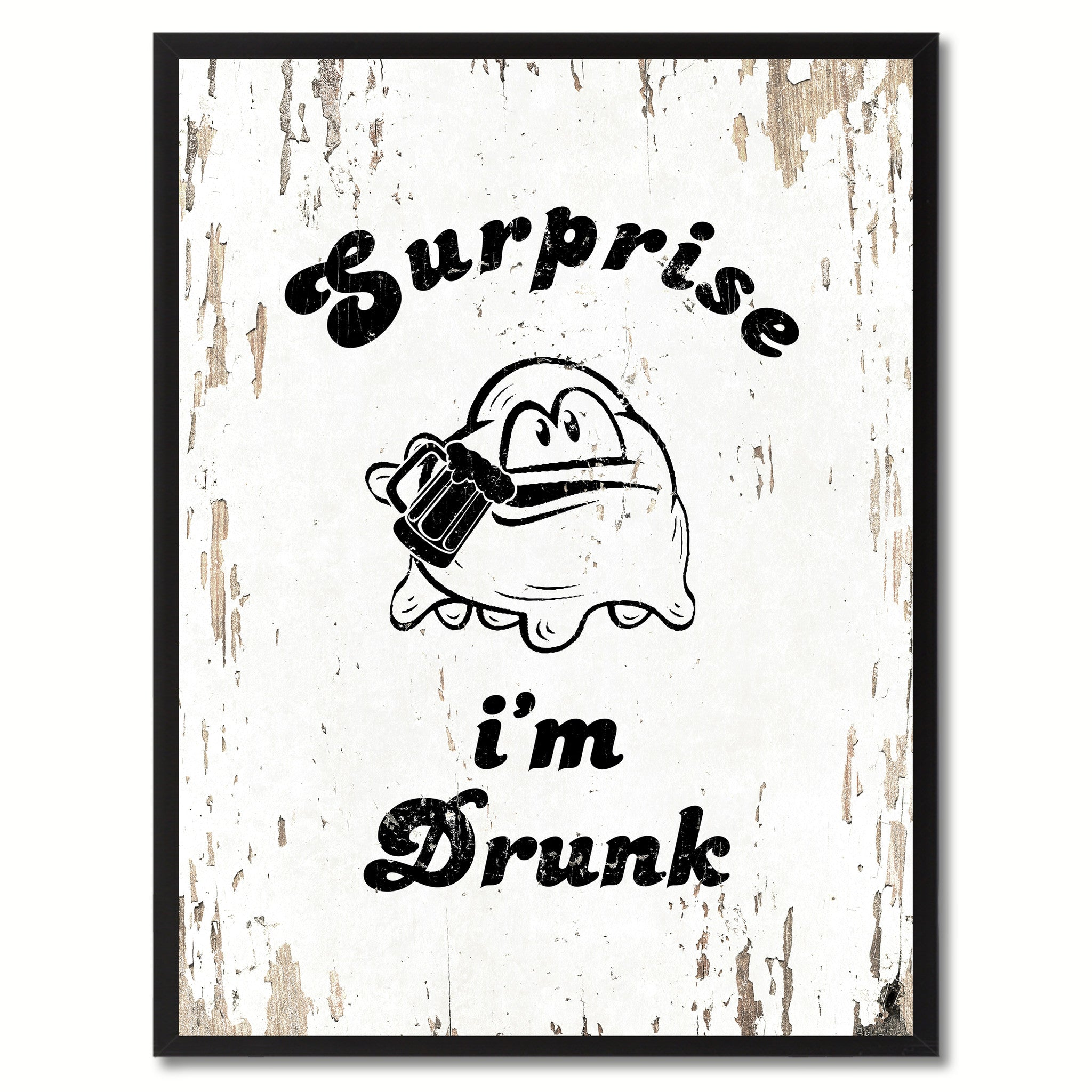 Surprise I'm Drunk Saying Canvas Print, Black Picture Frame Home Decor Wall Art Gifts