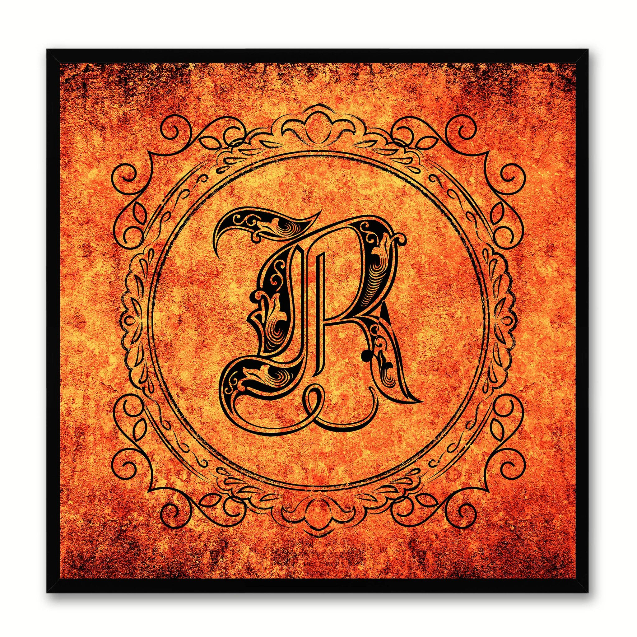 Alphabet R Orange Canvas Print Black Frame Kids Bedroom Wall Décor Home Art