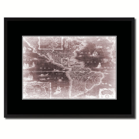 America Vintage Vivid Sepia Map Canvas Print, Picture Frames Home Decor Wall Art Decoration Gifts