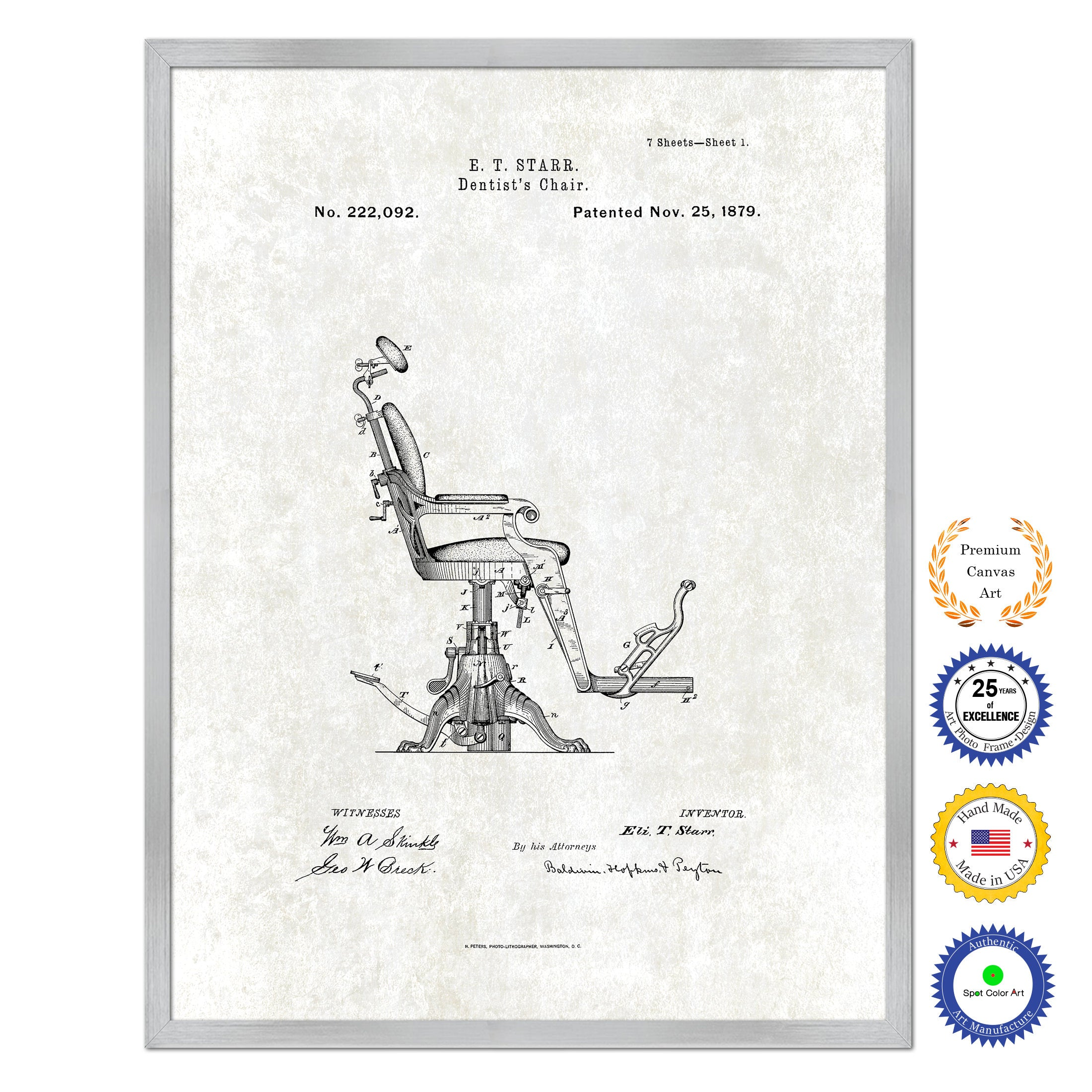 1879 Dentist's Chair Antique Patent Artwork Silver Framed Canvas Print Home Office Decor Great for Dentist Orthodontist