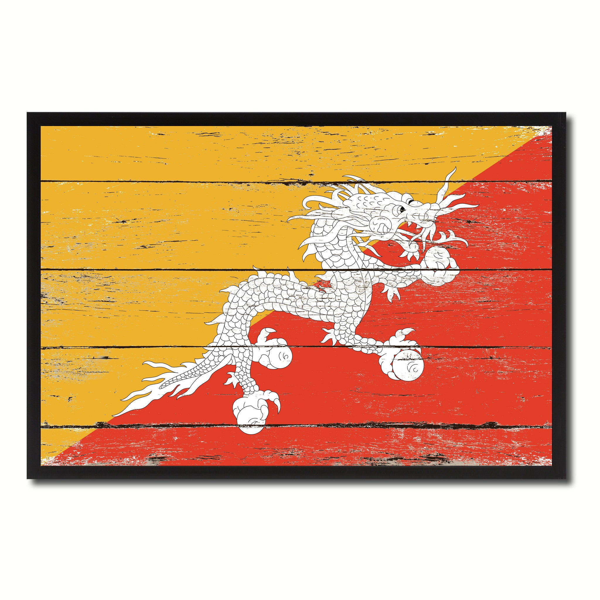 Bhutan Country National Flag Vintage Canvas Print with Picture Frame Home Decor Wall Art Collection Gift Ideas