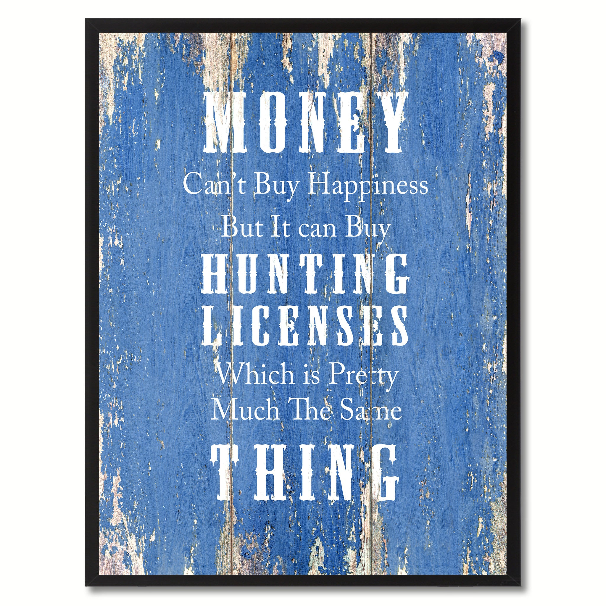 Money Can't Buy Happiness Saying Canvas Print, Black Picture Frame Home Decor Wall Art Gifts