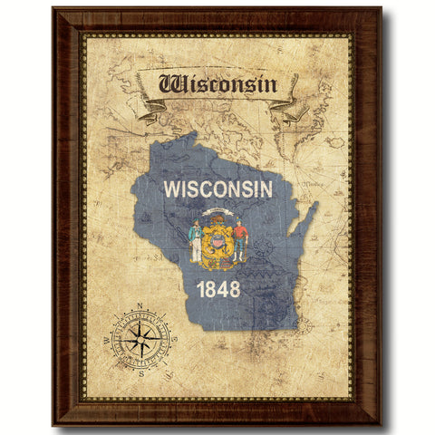 Wisconsin State Vintage Map Home Decor Wall Art Office Decoration Gift Ideas