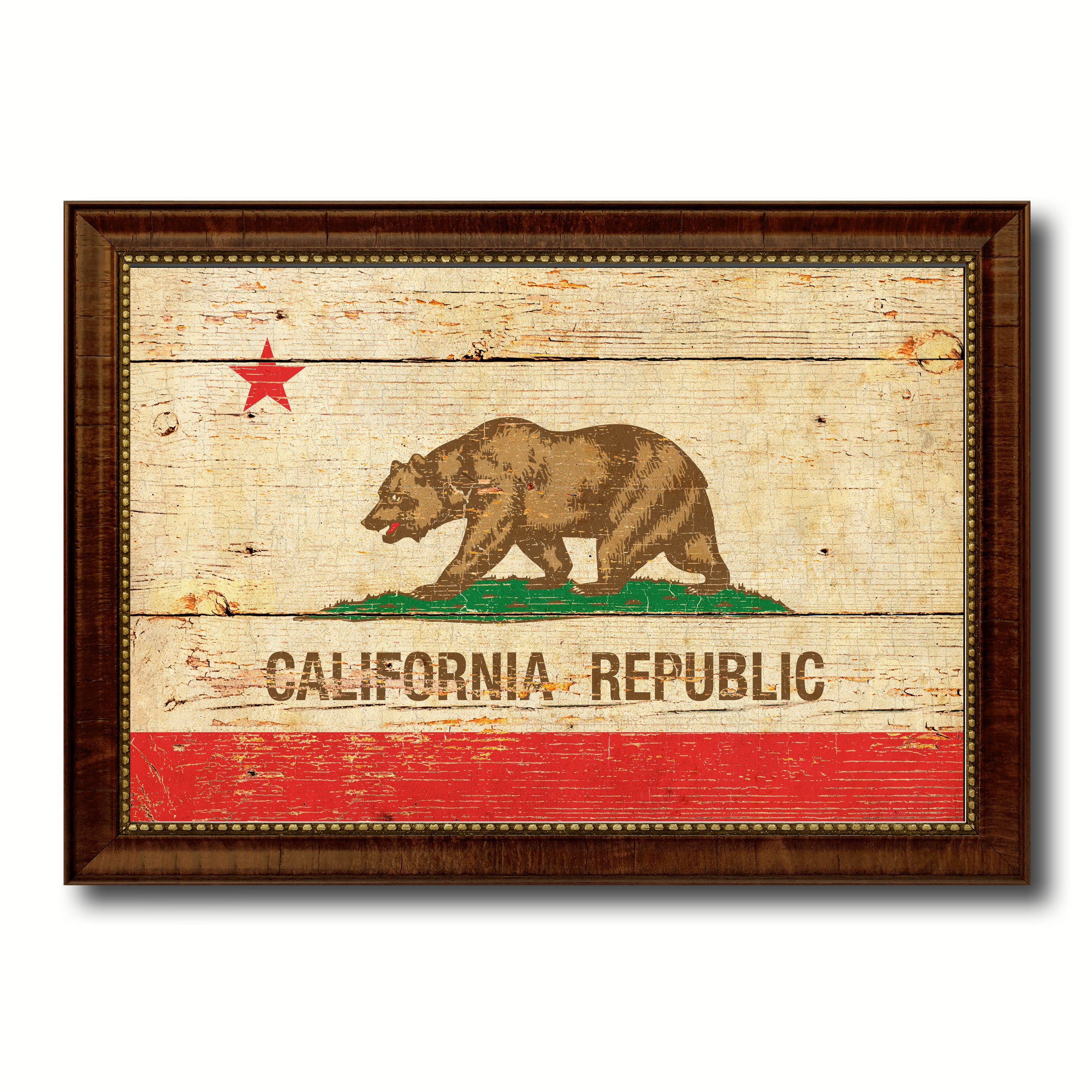 California State Vintage Flag Canvas with Black Print Picture Frame ...