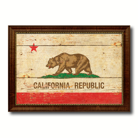 California State Vintage Flag Canvas Print with Brown Picture Frame Home Decor Man Cave Wall Art Collectible Decoration Artwork Gifts