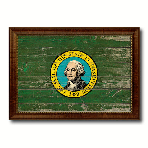 Washington State Vintage Flag Canvas Print with Brown Picture Frame Home Decor Man Cave Wall Art Collectible Decoration Artwork Gifts
