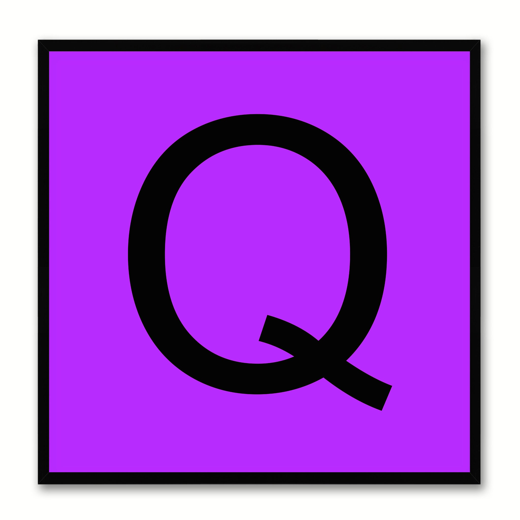 Alphabet Q Purple Canvas Print Black Frame Kids Bedroom Wall Décor Home Art