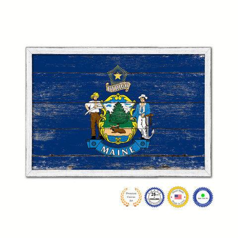 Maine State Flag Shabby Chic Gifts Home Decor Wall Art Canvas Print, White Wash Wood Frame