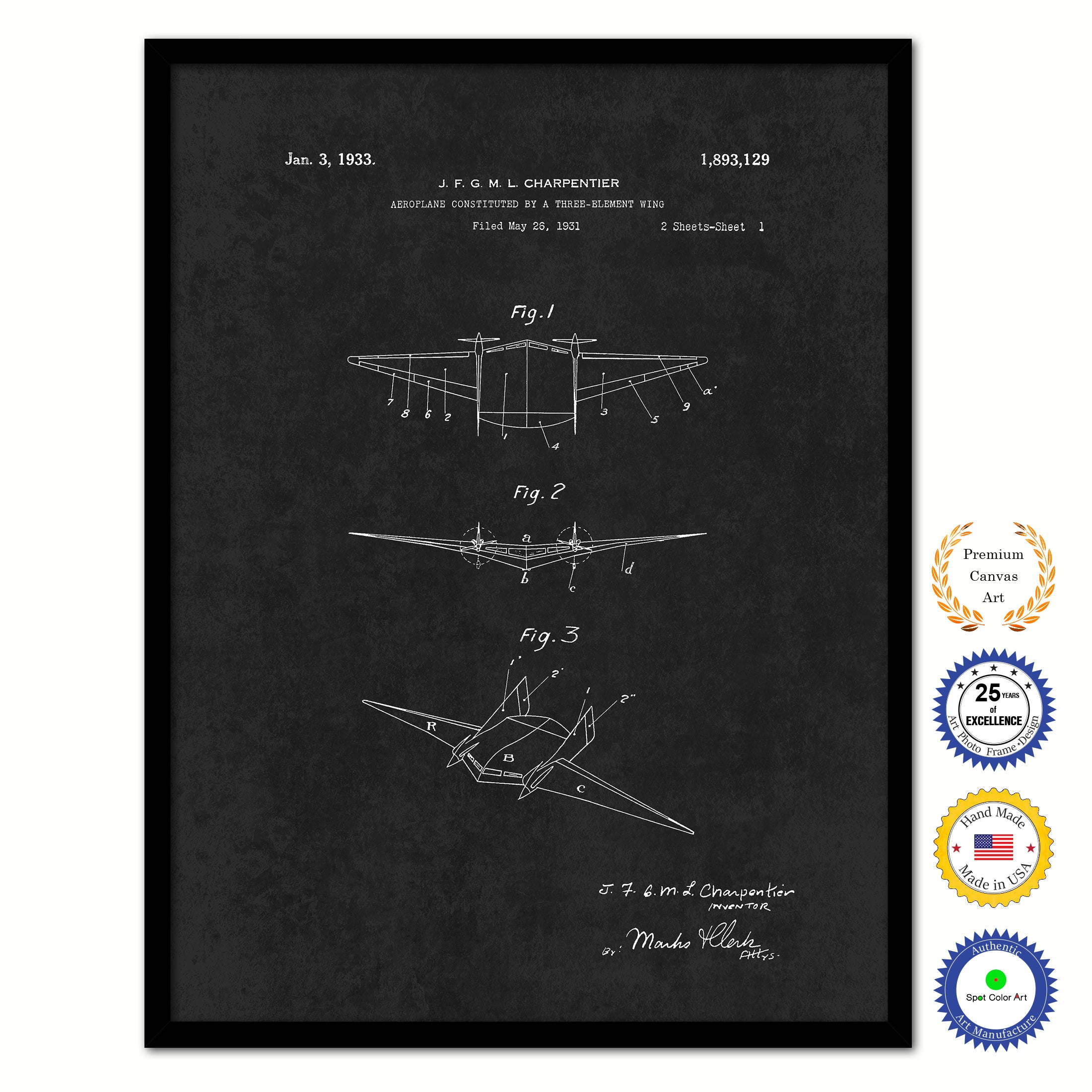 1933 Three Element Wing Airplane Vintage Patent Artwork Black Framed Canvas Home Office Decor Great for Pilot Gift