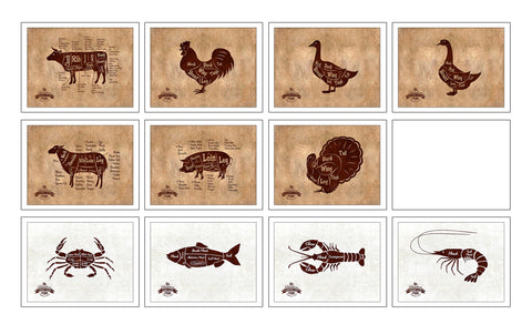 Beef, Chicken, Duck, Goose, Lamb, Pork, Turkey, Crab, Fish, Lobster, Shrimp Meat Cow Cuts Butchers Chart