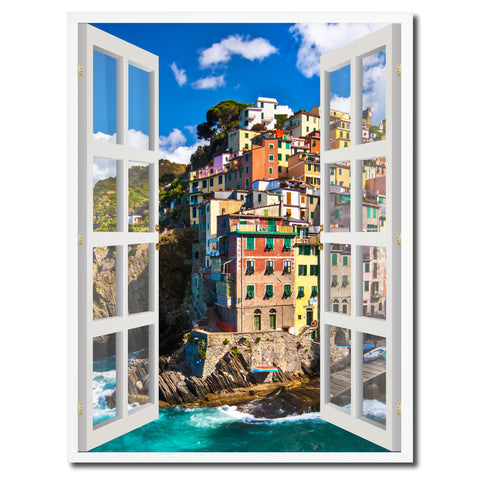 Fisherman Village Riomaggiore Picture French Window Canvas Print with Frame Gifts Home Decor Wall Art Collection