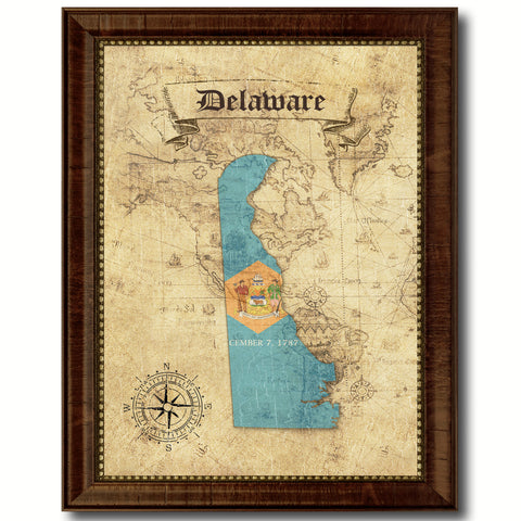 Delaware State Vintage Map Home Decor Wall Art Office Decoration Gift Ideas