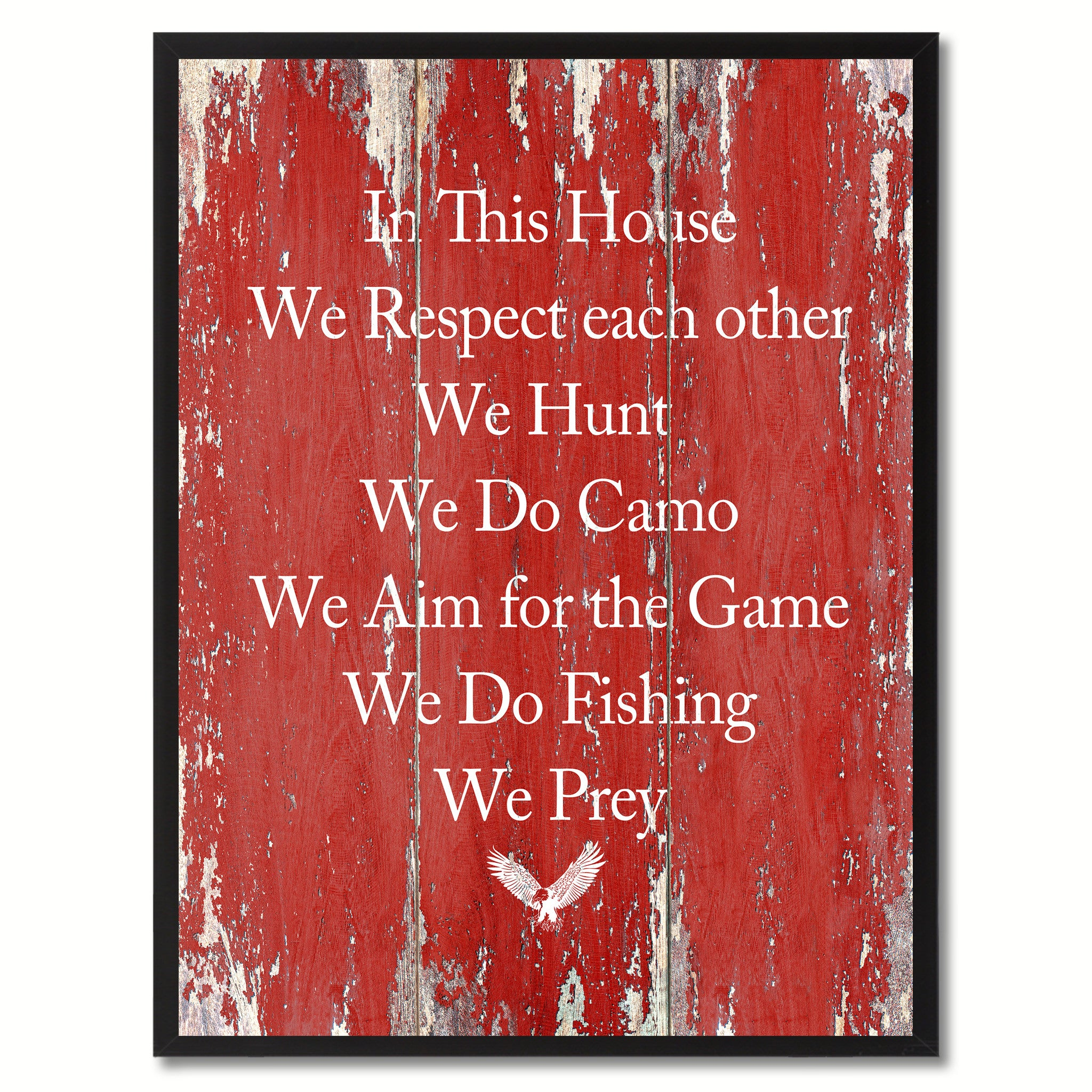 In This House We Respect Each Other Saying Canvas Print, Black Picture Frame Home Decor Wall Art Gifts