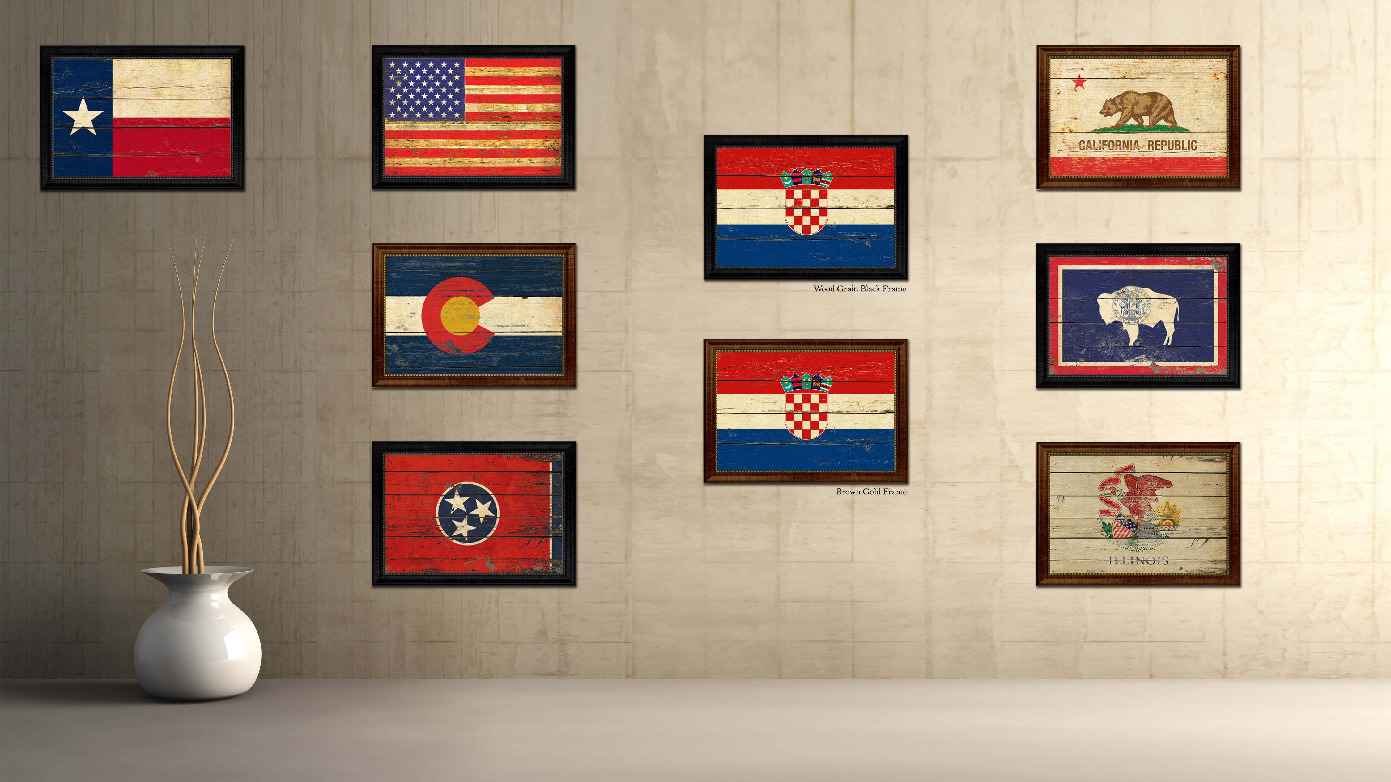 Croatia Country Flag Vintage Canvas Print with Brown Picture Frame Home Decor Gifts Wall Art Decoration Artwork