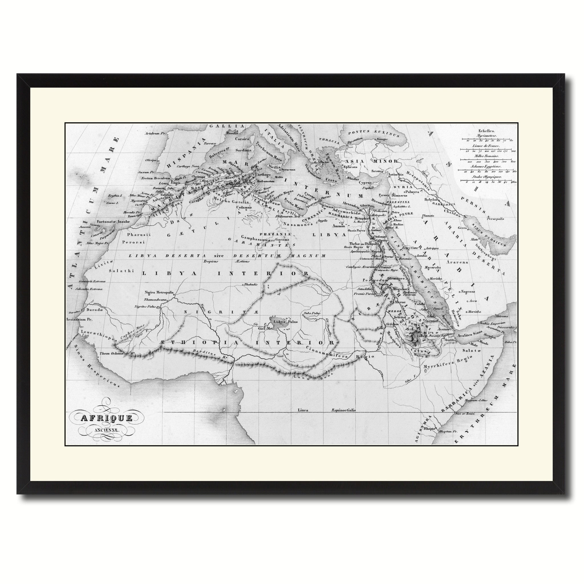 Ancient Africa Vintage B&W Map Canvas Print, Picture Frame Home Decor Wall Art Gift Ideas