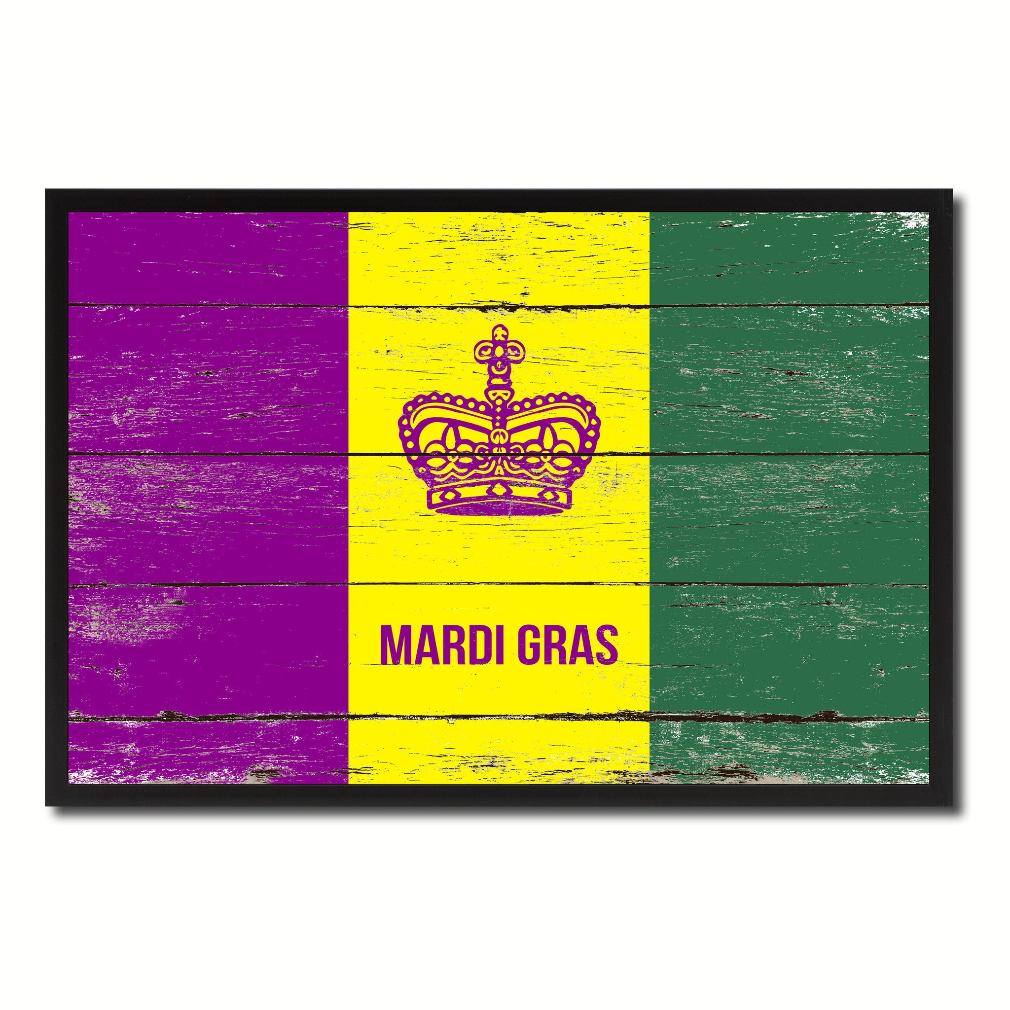 New Orleans Mardis Gras Vintage Flag Home Decor Office Wall Art ...