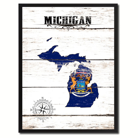 Michigan State Flag Gifts Home Decor Wall Art Canvas Print Picture Frames