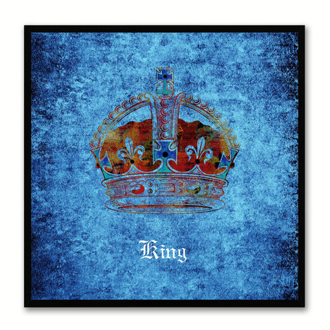 King Blue Canvas Print Black Frame Kids Bedroom Wall Home Décor