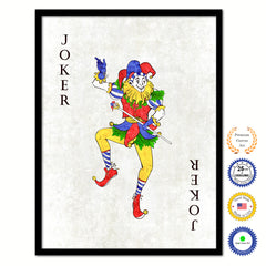 Joker  Poker Decks of Vintage Cards Print on Canvas Black Custom Framed