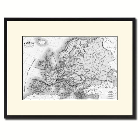 Ancient Europe Vintage B&W Map Canvas Print, Picture Frame Home Decor Wall Art Gift Ideas