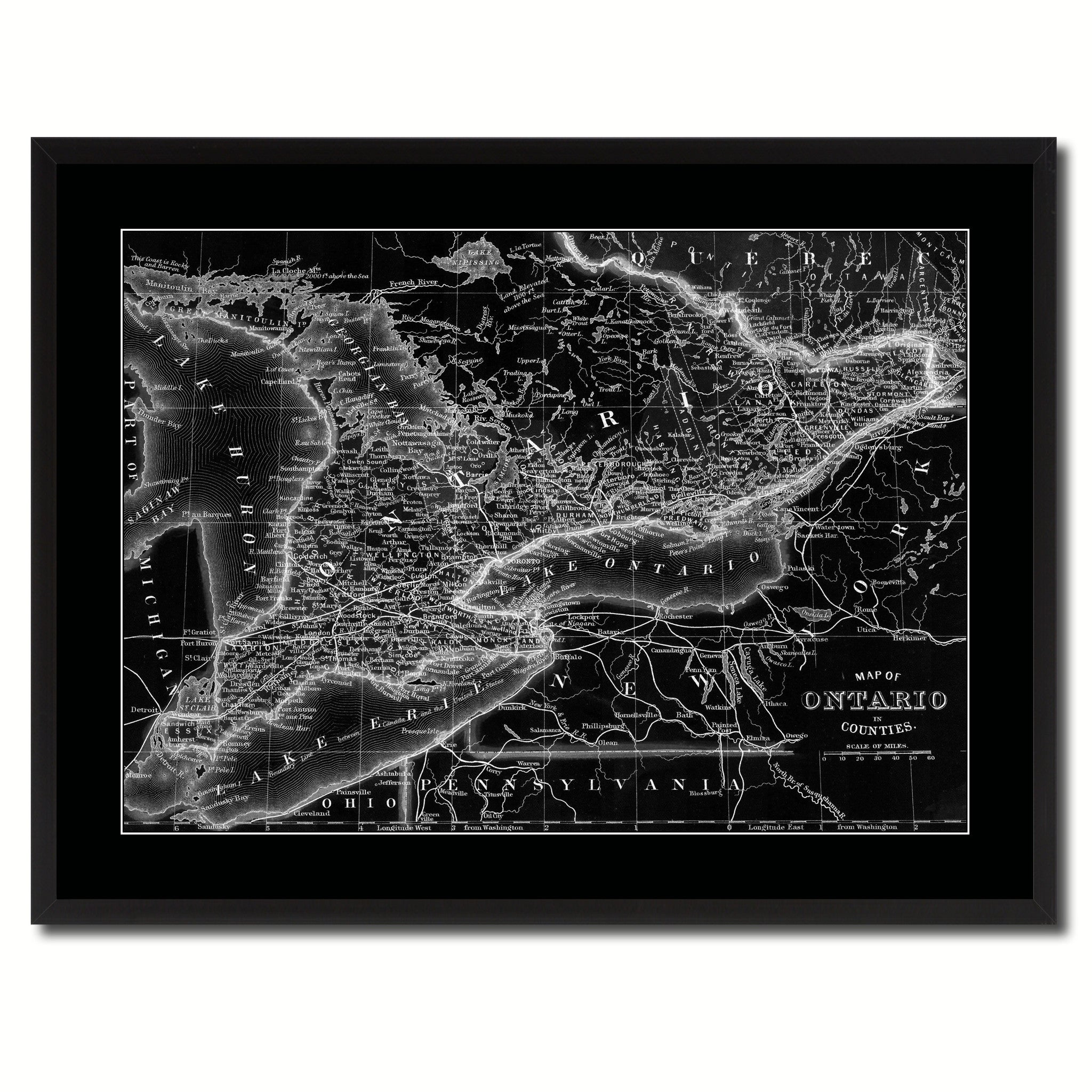 Ontario Canada Vintage Monochrome Map Canvas Print, Gifts Picture Frames Home Decor Wall Art