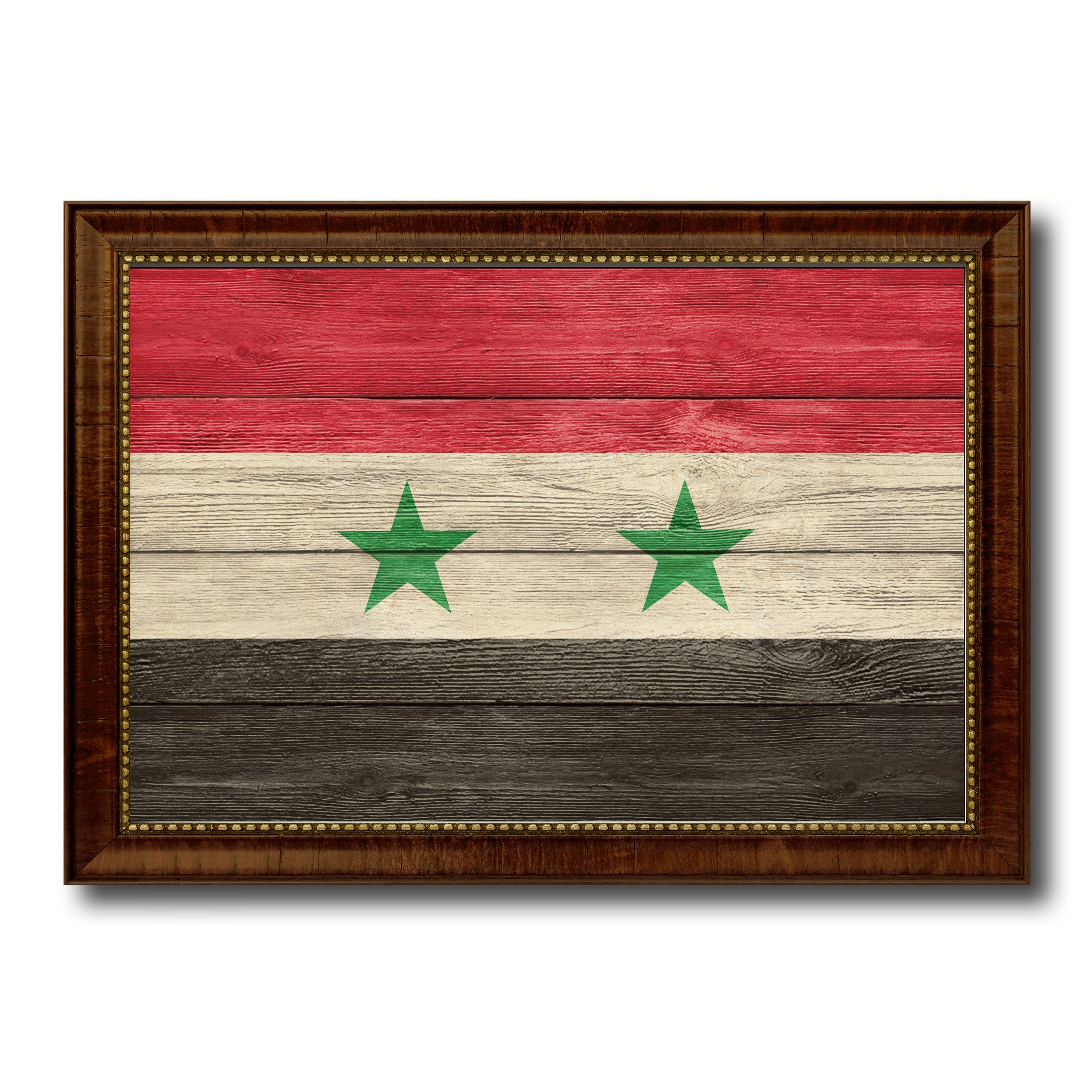 Syria Country Flag Texture Canvas Print with Brown Custom Picture Frame Home Decor Gift Ideas Wall Art Decoration