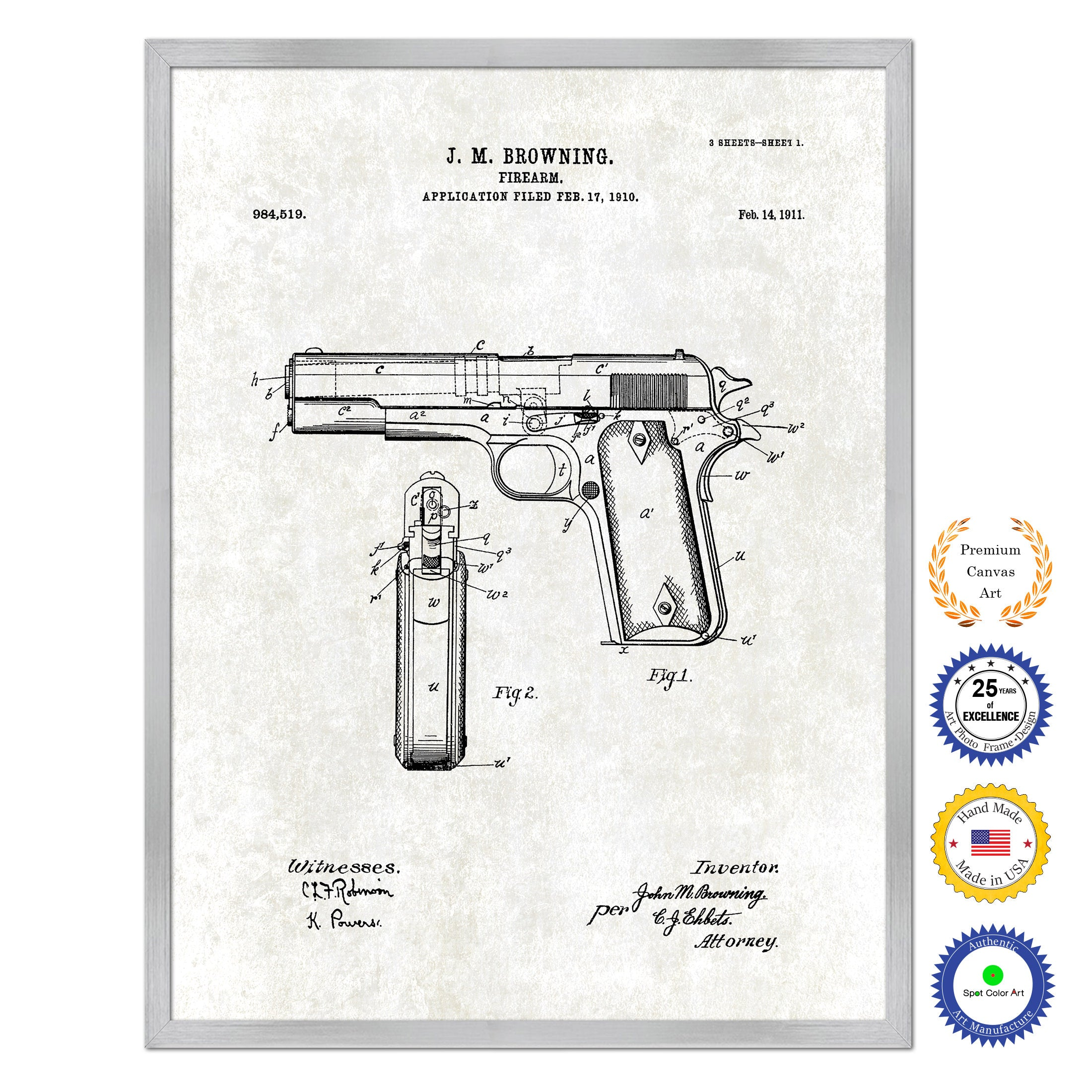 1911 Handgun Firearm Old Patent Art Print on Canvas Custom Framed Vintage Home Decor Wall Decoration Great for Gifts
