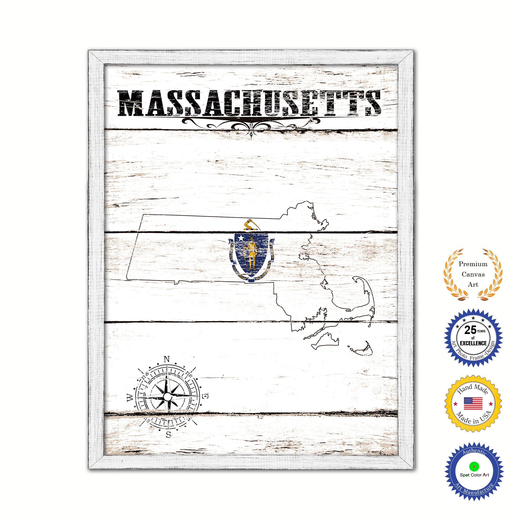 Massachusetts Flag Gifts Home Decor Wall Art Canvas Print with Custom Picture Frame