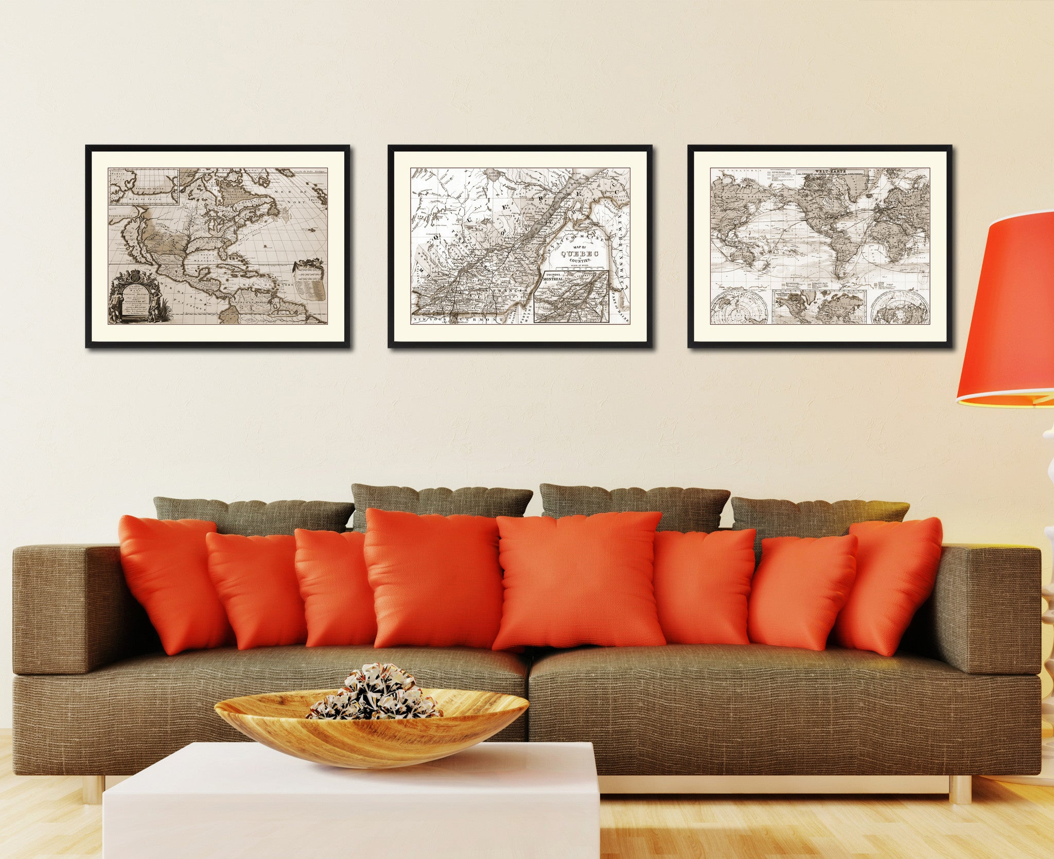 Quebec Montreal Vintage Sepia Map Canvas Print, Picture Frame Gifts Home Decor  Wall Art Decoration
