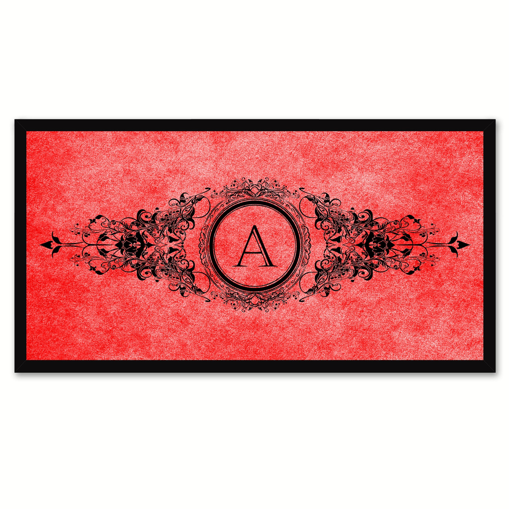 Alphabet Letter A Red Canvas Print Black Frame Kids Bedroom Wall Décor Home Art