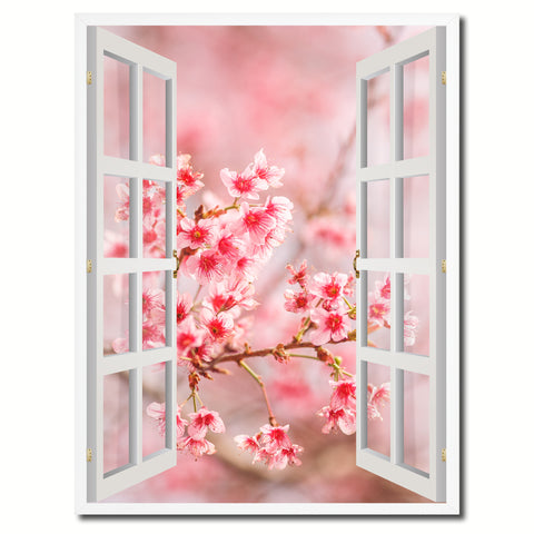 Cherry Blossom Beautiful Flower Picture French Window Canvas Print with Frame Gifts Home Decor Wall Art Collection