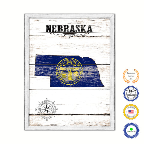Nebraska Flag Gifts Home Decor Wall Art Canvas Print with Custom Picture Frame