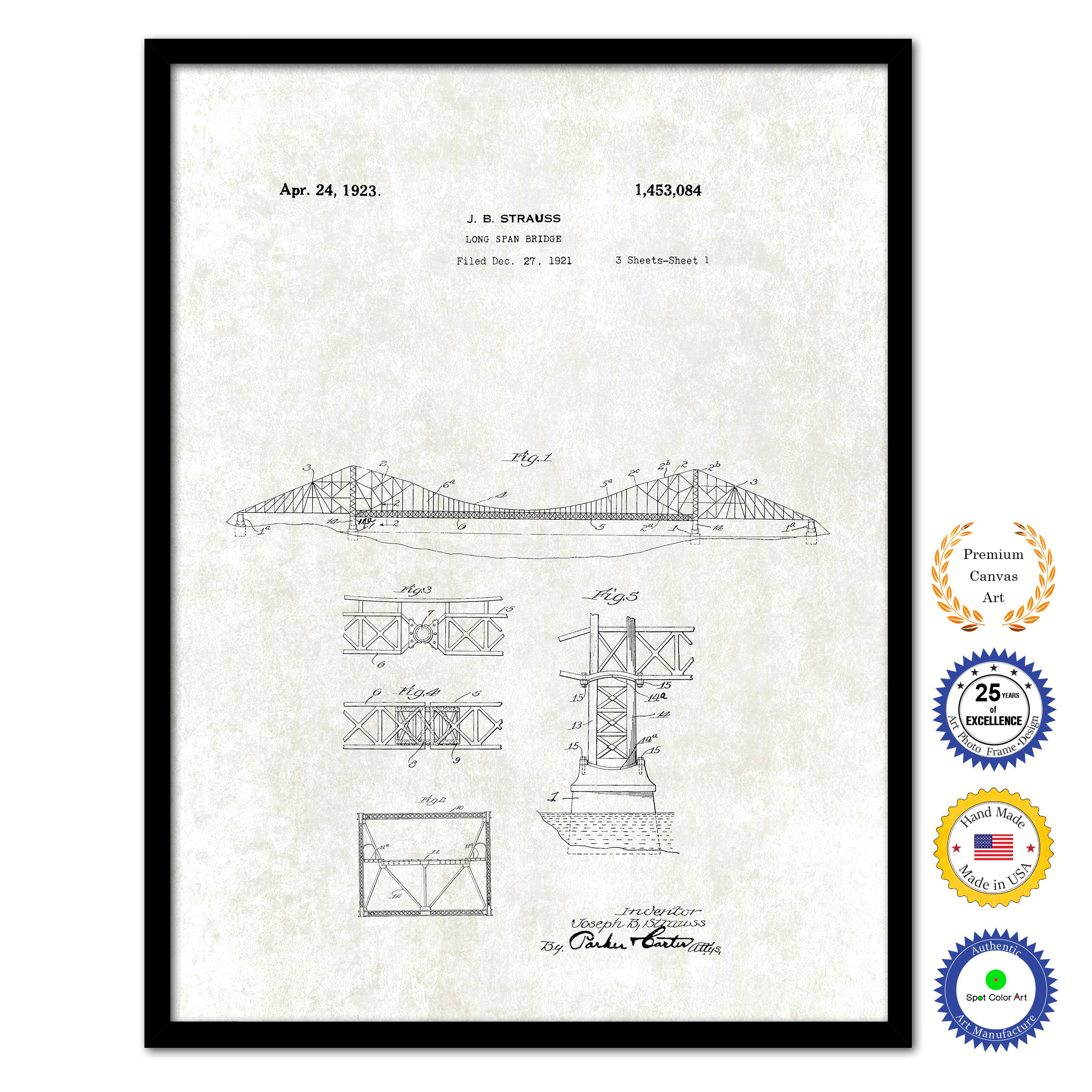 1923 Long Span Bridge Vintage Patent Artwork Black Framed Canvas Print Home Office Decor Great Gift for Engineers Architects Construction Workers