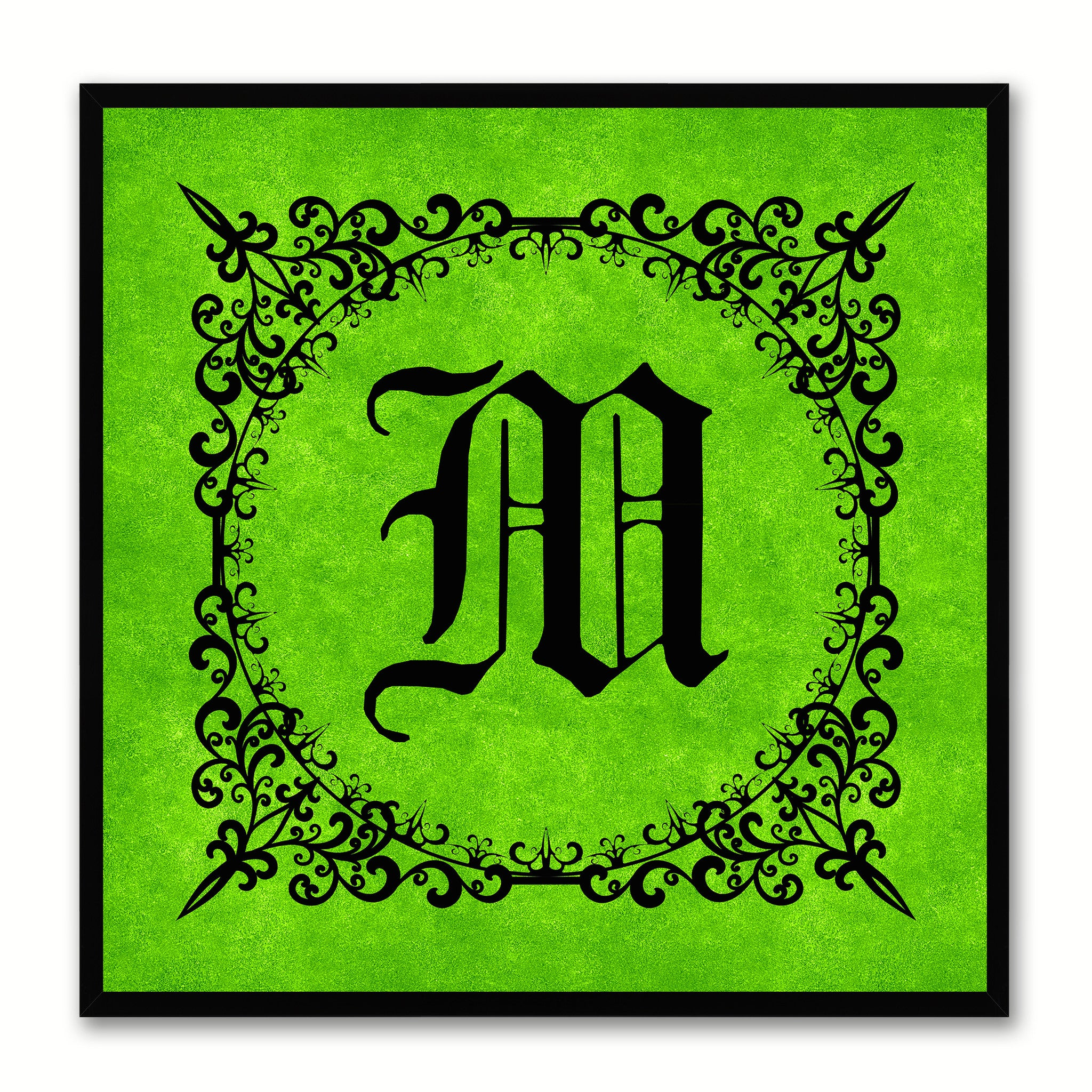 Alphabet M Green Canvas Print Black Frame Kids Bedroom Wall Décor Home Art