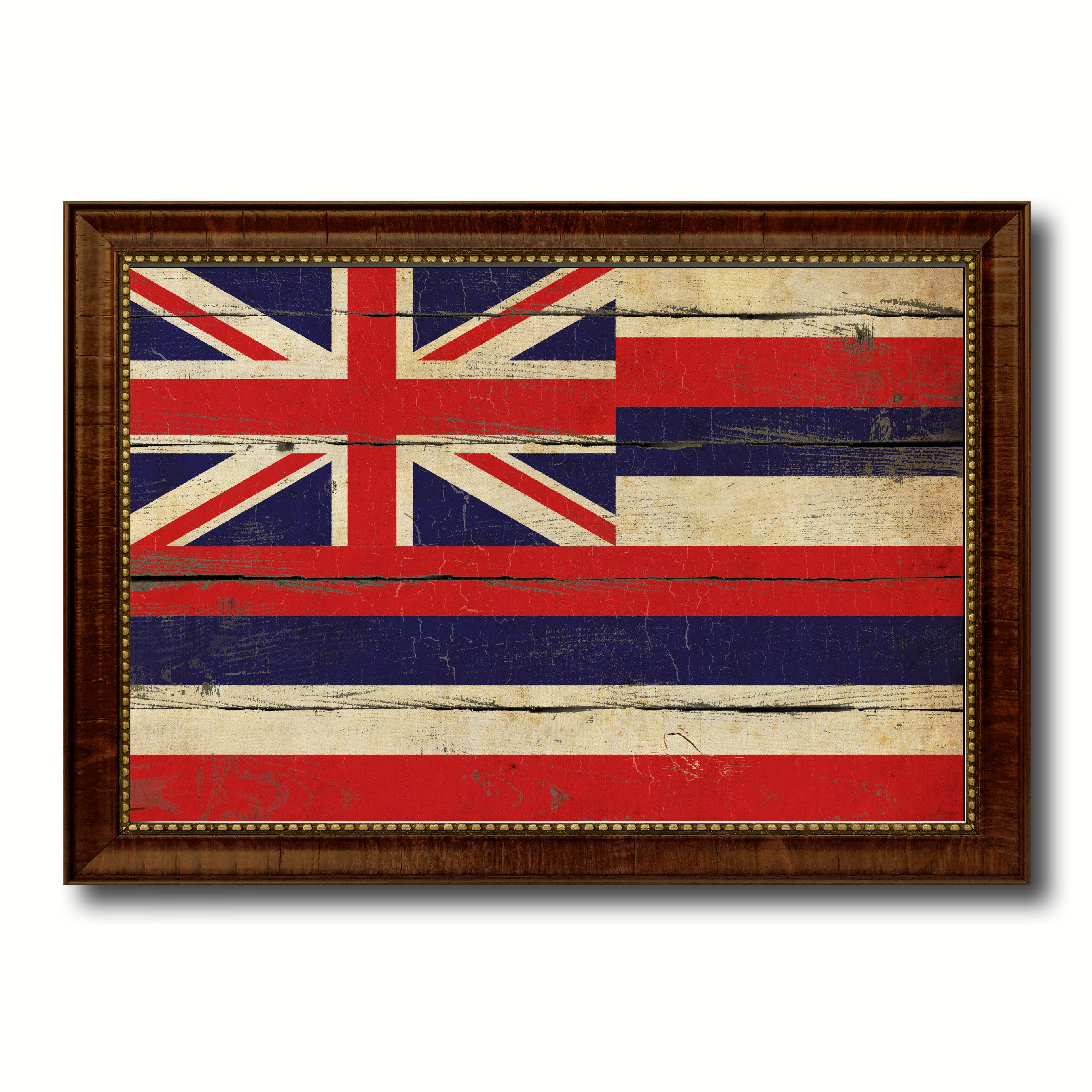 Man Cave Wall Art hawaii state vintage flag canvas with black print picture frame